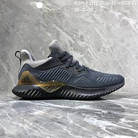 hcxx A927 Adidas Alphabounce Em M Breathable cushioning running shoes Gray Gold