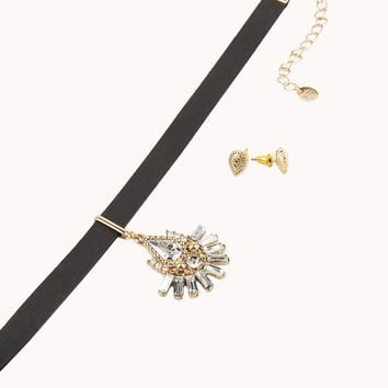 Leatherette Choker with Dangling Charm in Black and Gold-toned Metal