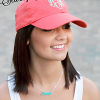 Monogrammed Baseball Cap for Women. Bridesmaid Gifts. Birthday Gifts. Co-worker Gifts. Personalized Sorority Hats. Preppy College Cap