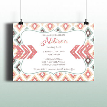 Instant Download-Tribal Aztec Arrows Pink Blue Brown DIY Printable Birthday Party Baby Girl Shower Bridal Wedding Invitation Template