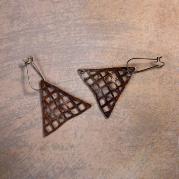 On Sale Vintage Rusty Steel Earrings Unusual Triangles Geometric Industrial Design Rusty Patina Dangling Earrings