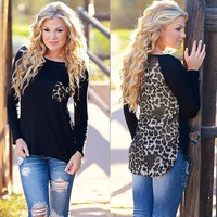 Black Leopard Print Patchwork Irregular Hem  Long Sleeve Chiffon Top