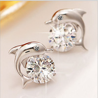 Lovely Crystal Eye Dolphin CZ Stud Earrings Women's 925 Sterling Silver Jewelry