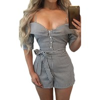 White Striped Business Casual Summer Romper Jumpsuits
