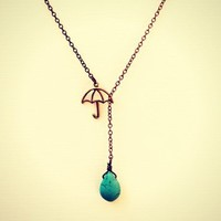 turquoise drop umbrella necklace