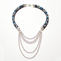 African Fabric Choker・African Fabric Necklace・Statement Necklace・African Jewelry・African Necklace・Ethnic Necklace・Tribal Necklace・Blue・White