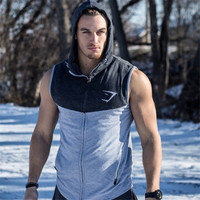 Mens Shark Hoodie Stringer Tank Top Men Gymshark Workout Fitness Vest Men's Singlets Sports Top Tees Sleeveless Sweatshirts