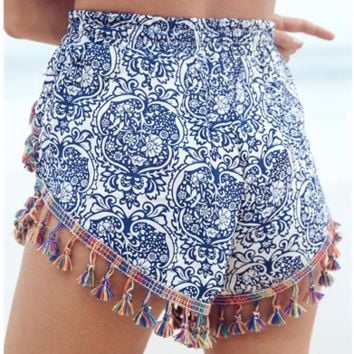 Trendy Design Print Tassel Summer Shorts