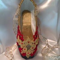 Nutcracker Spanish themed decorated pointe shoe. Don Quixote. Kitri. Paquita. Carmen. Nutcracker Gift.