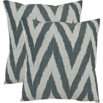 "Safavieh Chevron Silver Pillow, Set of 2 18"" x 18"""