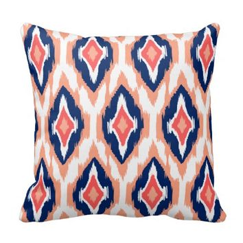 Modern peach navy coral Ikat Tribal Pattern 1a Pillows