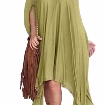 Women's Awesome Mossy Green Off the Shoulder Asymmetrical Hem Cape Poncho