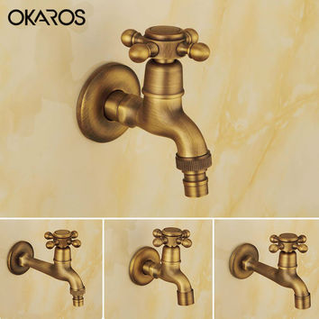 Okaros Antique Brass Finish Laundry Mop Pool Washing Machine Faucet Water Cold Tap Wall Mount Outdoor Garden Bibcock Faucet