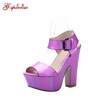 Women's Fashion Sandals For Sale Chunky High Heel Platform Shoes Peep Toe Wedges Footwear