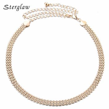 2017 Limited Adult Metal Solid Hot Sale Sexy Chain Belt For Women Plated Thin Waistband Metallic Body Accessories Women's F061