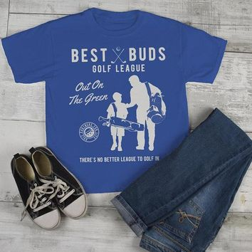 Boy's Best Buds Golf League T-Shirt Matching Father Son Shirt Grandpa Tees