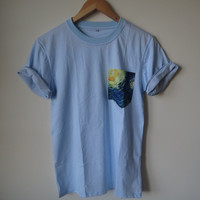 Van Gogh Starry Night Painting Pocket Tee