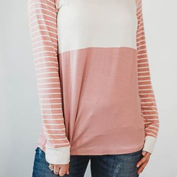 Pin-stripe color block top- Pink