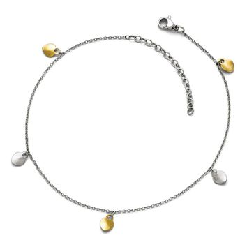 Stainless Steel Wavy Heart Ankle Bracelet - Lobster Claw