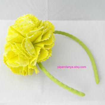 Yellow Fabric Flower Hair Band, Flower Hairband