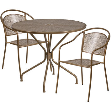 35.25'' Round Gold Indoor-Outdoor Steel Patio Table Set with 2 Round Back Chairs