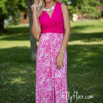 Luxe Paisley Maxi Dress in Pink