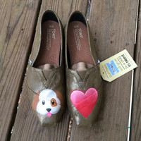 Puppy Love Emoji Dog and Heart Custom Toms Shoes
