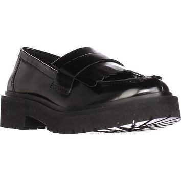 Nine West Account Platform Lug Sole Loafers, Black, 5 US
