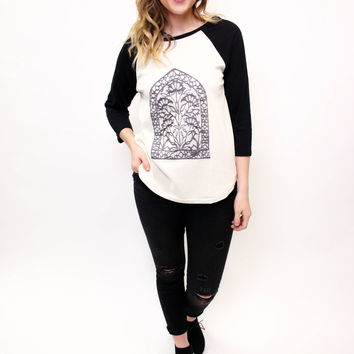 Floral Embroidered Baseball Tee