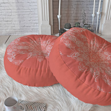 Lisa Argyropoulos Enchanted Soul Coral Floor Pillow Round