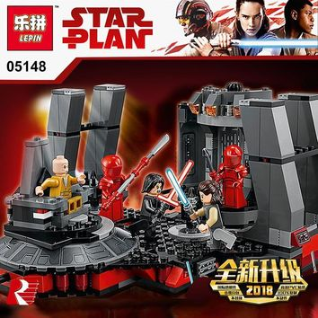 Star Wars Force Episode 1 2 3 4 5 Lepin 05148  Series Snoke's Throne Room Compatible Legoing 75216 Blocks Bricks Building Educational Toys Model Gifts AT_72_6