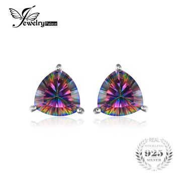 JewelryPalace 925 Pure Sterling Silver 4.5ct Genuine Nature Rainbow Fire Red Multicolor Mystic Topaz Earrings Stud