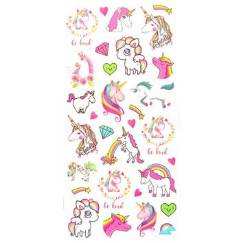 Waterproof Temporary Fake Tattoo Stickers Pink Unicorn Horse Cartoon Design Kids Child Body Art Make Up Tools