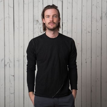 The Signature T Long Sleeve   Black French Terry