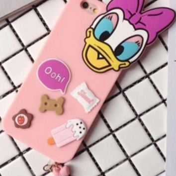 Disney  Donald Daisy with Dust Plug Silicone Case for Iphone 6 6s plus