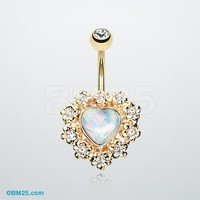 Golden Sparkle Heart Flower Belly Button Ring