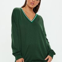 Missguided - Green V Neck Ribbed Cuff Sweatshirt
