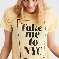 AE NYC Shrunken Graphic T-Shirt, Yellow