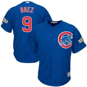Men's Chicago Cubs Javier Baez Majestic Royal 2017 Postseason Cool Base Player Jersey