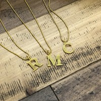 Gold Typewriter Letter Initial Necklaces