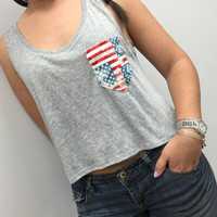 American Flag Tank, Pocket Tank, American Flag Tank, Fourth of July Tank, Country Concert Tank