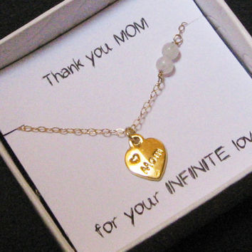 Mom Heart Necklace, Dainty Necklace, 14k Gold Fill , Moonstone Necklace,  Mother's Necklace, Mother's Day Gift, Mom Infinite Love Necklace