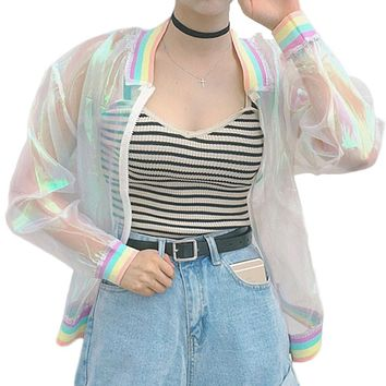 Summer Women New Colorful European Root Stitching Female Rainbow Collar Wild Sunscreen Jacket