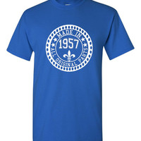 Made in 1957 All Original Parts Tshirt. 58th Birthday Shirt.  Funny Birthday Tshirts. Ladies and Mens Unisex Styles. Makes A Great Gift.