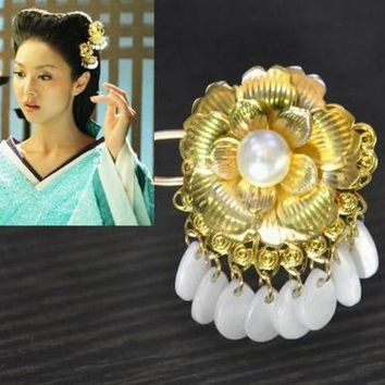vintage golden hair pin princess cosplay hair decoration chinese ancient dynasty cosplay golden hair pin accessories