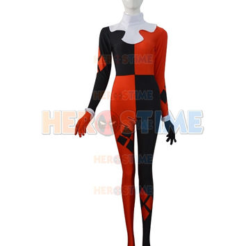 2015 Super Villain Harley Quinn Costumes Halloween Costumes For Women Cosplay Zentai Suit The Most Popular Free Shipping