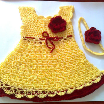 Baby  Dress and Headband in yellow and red, Baby Clothes,  Child frock, Infant Clothes, Crochet Baby Dress, Infant Dress