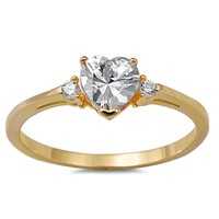 .925 Sterling Silver Yellow Gold Heart Kids and Ladies ring size 4-12 with Clear CZ