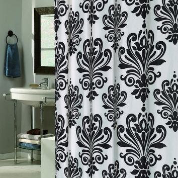 """Royal Bath Easy On (No Hooks Needed) Fabric Shower Curtain (70"""" x 72"""") with Built in Hooks - Beacon Hill Black & White"""
