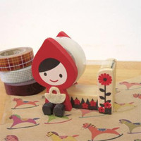Little Red Riding Hood Washi Tape Holder, wood case, Tape Cutter